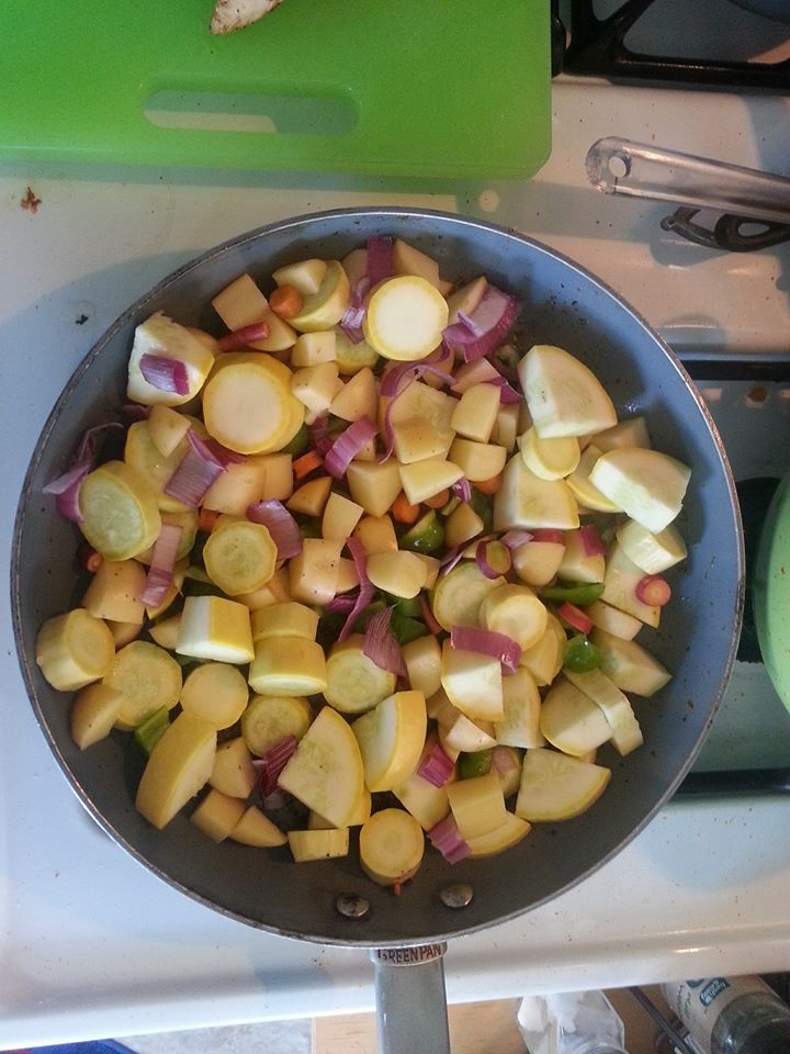 chopped with other veg in skillet